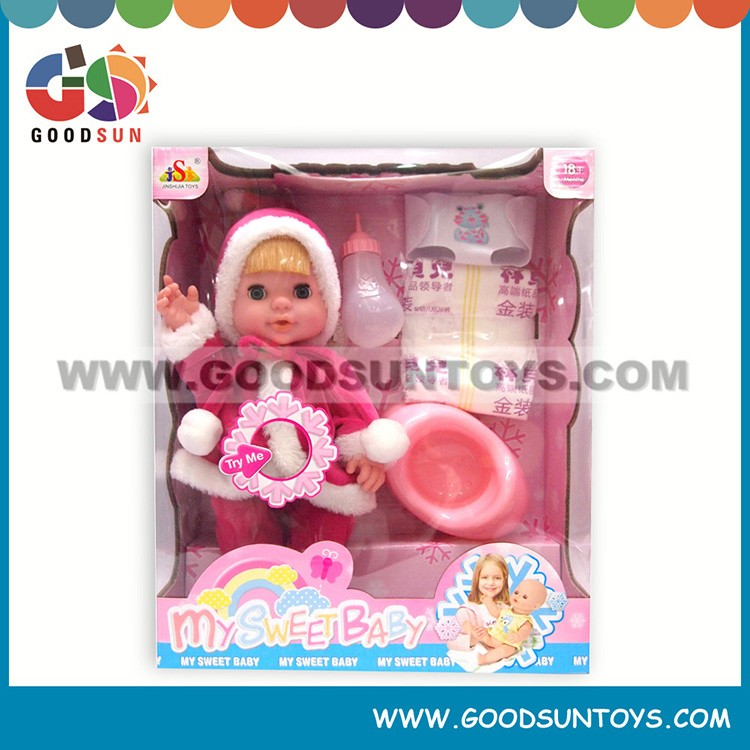 14 inch vinyl drink water girl pee doll toy interesting learning toy doll set