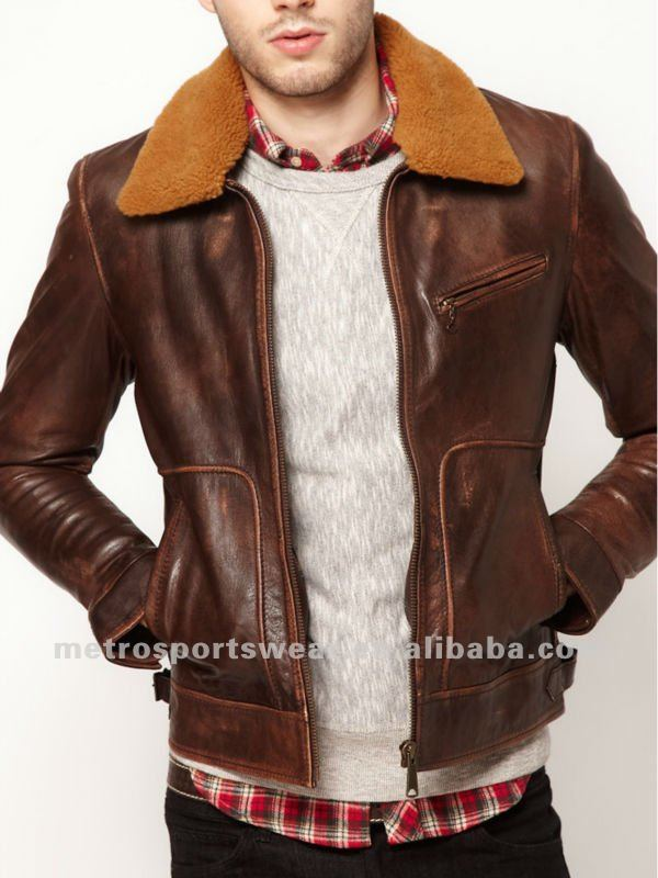 High quality Mens Leather Jacket with Fur Collar