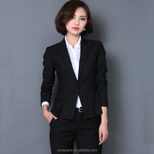 office lady's cotton stand collar suit