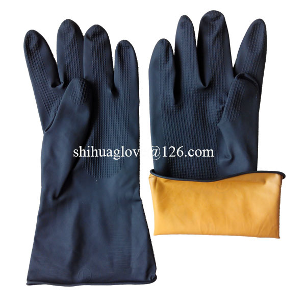 industrial safety equipment black latex gloves