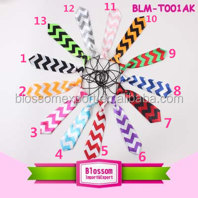 Wholesale multi-color chevron baby boys ties, soft fabric elastic neck tie