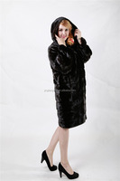 Russian Style Long Natural Mink Fur Coats from China for Girls