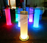 Multi color Plastic LED Hardware Table with glass top