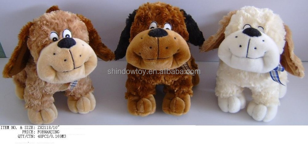cute and lively stuffed customized plush dogs with long ears three colors