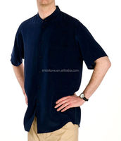 100% fashion latest design casual clothes men's silk shirt with short sleeve