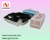 Luxury aluminum cosmetic train case with trays and clasp lock