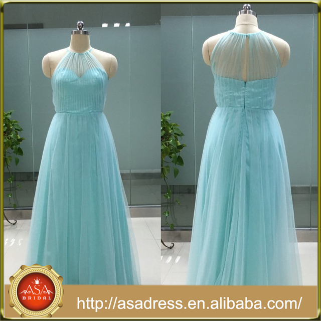 ASAP-04 Elegant Halter Neck Pleats Sleeveless Zipper Back Floor Length Long Bridesmaid Dresses