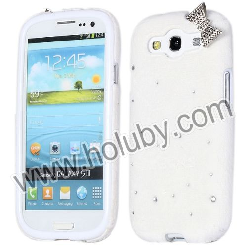 Soft Hairy Bowknot Pattern Diamond Studded TPU Protective Back Cover Case for Samsung I9300 Galaxy S3 I9305 I9308