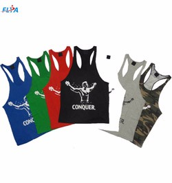 100% combed cotton muscle fit gym vest for men