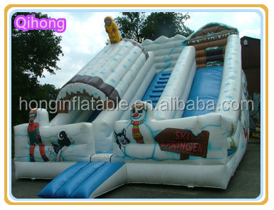 Outdoor cheap inflatable snow slide, popular Christmas theme slide for children
