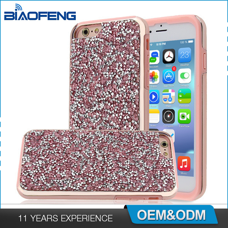Fashion jewelry design bling rhinestone diamond armor combo phone case for iphone 7 plus hybrid case