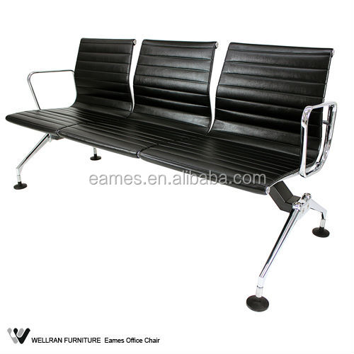 New Commercial Bench Seat Heavy Duty Black Reception Area Airport Waiting Room Bench Chair 2-4 Seat