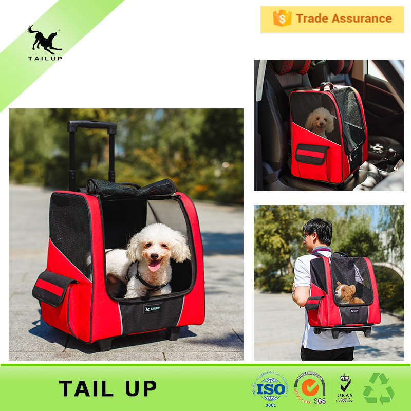 Traval Outdoor Walking Open Top Mesh Breathable Backpack Dog Carrier With Wheels