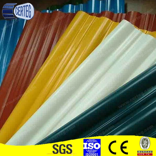 prepainted galvanized color coated corrugated steel roofing sheet in various colors