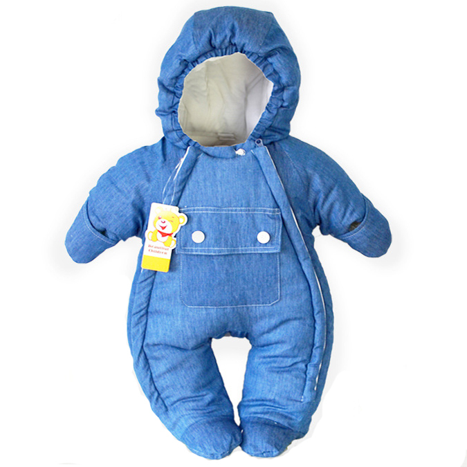 Baby Snowsuit Newborn Coat Cotton Down 0-12 Mouths Hooded Baby Overalls Winter Clothes Warm Infant Boys Snowsuit #90-70/60