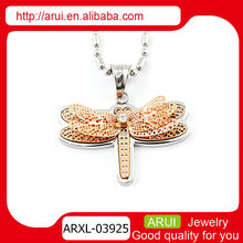 Beautiful animal cute metal dragonfly pendant with rose gold
