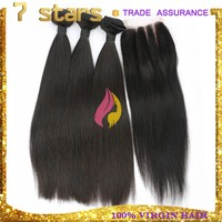 top quality 6a grade virgin peruvian hair bundles with lace closure natural black can be dyed silk straight hair