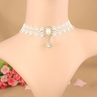 MYLOVE White Lace Necklace Pearl Choker
