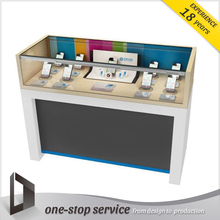 exlusive hot sale cell phone store interior design kiosk furniture glass mobile phone display counter showcase with led light