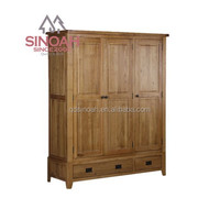 306 rustic style natural oak triple wardrobe with drawer/ bedroom furniture