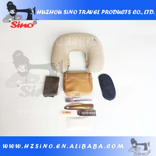 nice khaki high-quality luxury leather common cloth lining United Airlines first class inflight airline travel amenity kit