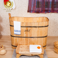 Kangxi handmade healthy wooden soaking bathtub from China, shower room with bathtub