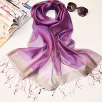 New fashion purple lady's scarves with tassels pure silk neck scarf
