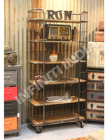 INDUSTRIAL WIREMESH BOOKSHELF, VINTAGE INDUSTRIAL FURNITURE/BOOKCASE