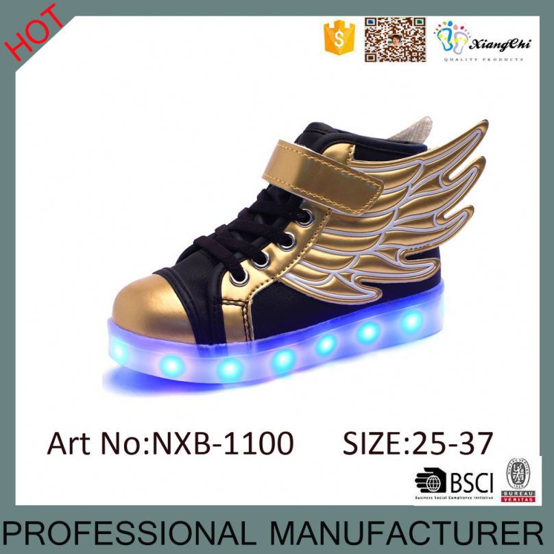 High Quality Children LED Gold Wings Shoes Kids Light Up Shoes