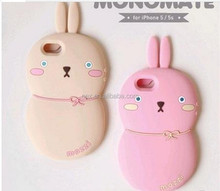 3D Silicone Back Cover Case For Apple Iphone 4 4S Rabbit Pattern