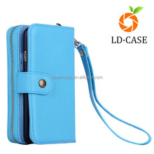 hotest universal PU wallet clutch purse for iphone 4/5/6/6s PC cell phone cover dismountable