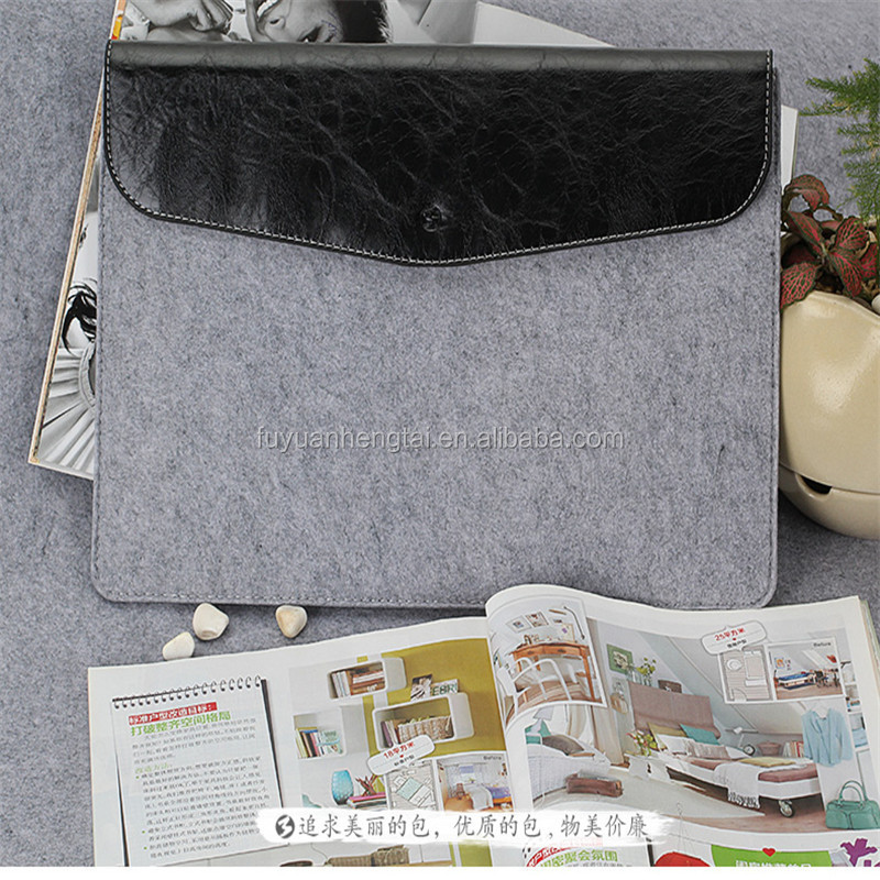 2017 well handmade gray wool felt pad bag with the black leather cover