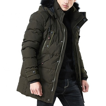 Wholesale Dropship Thick Green Long Jackets For Men Winter