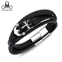 New Anchor Design Stainless Steel Charm Leather Bracelet Men Jewelry