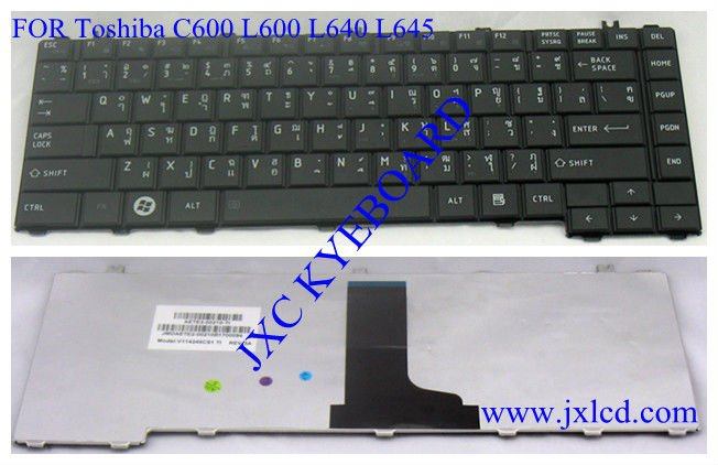 laptop keyboard for Toshiba C600 L600 L640 L645 Thai black Model V114246CS1TI PN AETE2-00210-TI