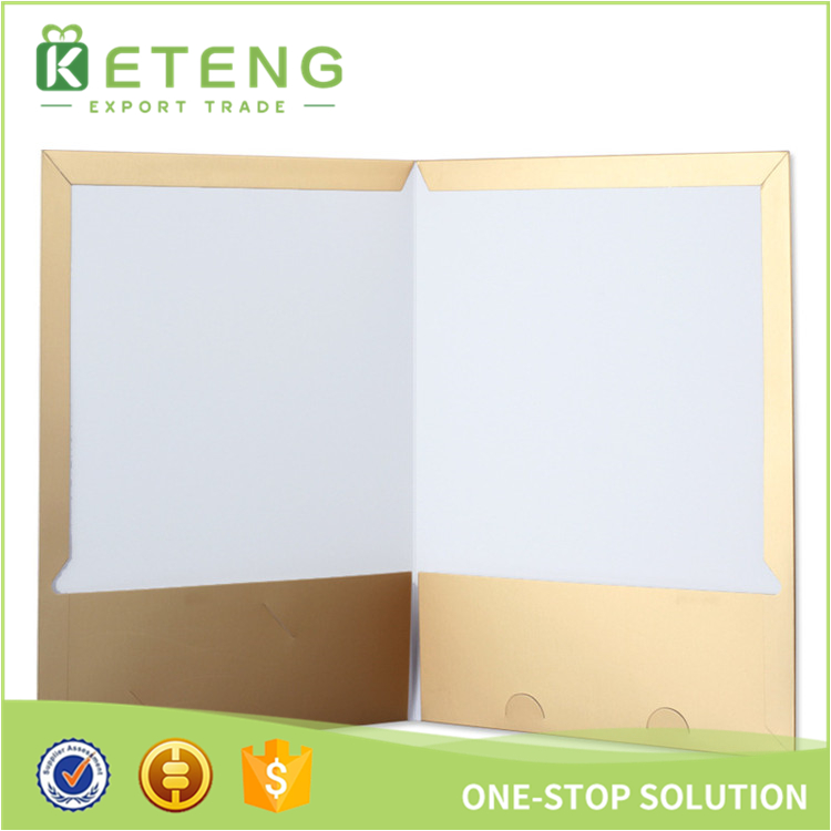 Custom logo A3 kraft paper cardboard file presentation 2 pocket folders with card slot