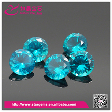 2016 hot selling blue topaz round cubic zirconia stone for women jewelry