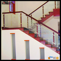 HR1374 Huarun wooden residential interior glass stair handrail