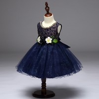 High quality beading lace wedding party girl dress with flower belt kid dress custom-made model L9077