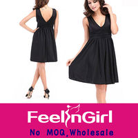 2014 v neck black fashion girls nighty sexy wear