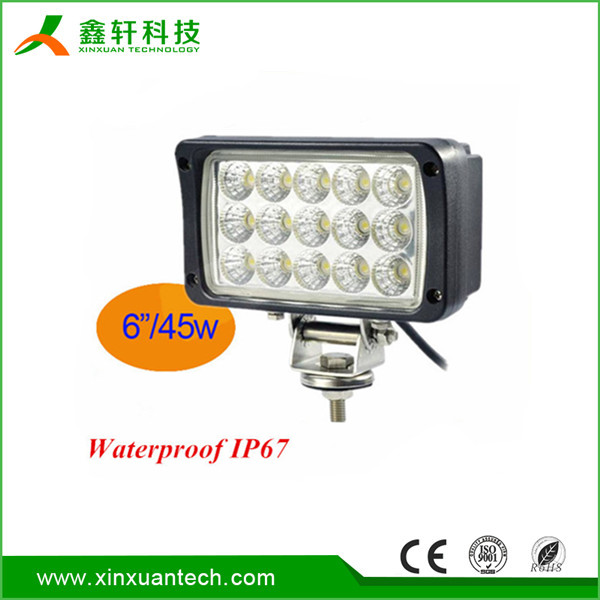 "Warranty 2 year 6"" IP67 12V 24V Epistar Flood Spot beam high efficiency off road 45w led light work light"