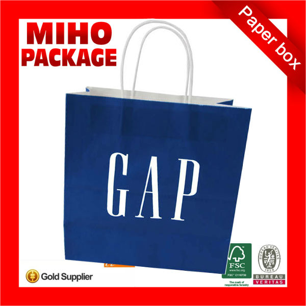 glossy lamination eco-friendly fancy shopping paper bags with customized logo