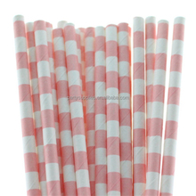 Quality Party Wedding Supplies Decorative Pink Sailor Striped Party Paper Straws