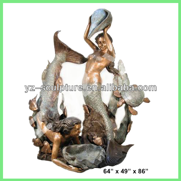 hot sale outdoor beautiful cast bronze mermaid fountains swimming