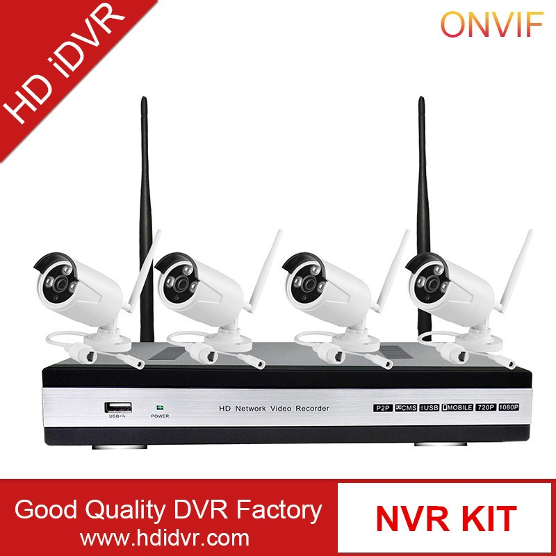 HD iDVR 1080P HD Waterproof Outdoor Indoor WiFi Bullet IP Cameras and 1 PC of 4-Chanel Wireless NVR Kit