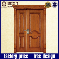 Cherry wood interior big and small double entrance door