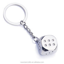 Factory cheap Metal Zinc alloy Dice Creative Car Key chain Ring KeyRing