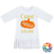 Pumpkin Print Baby Dress Solid White Cotton Frock Designs 0-6 Years Old Girls Cotton Frocks