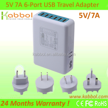 new product 5V 7A 6-Port Family-Sized Desktop USB Adapter for iPhone 5s 5c 5; iPad Air mini; Galaxy S5 S4; Note 3