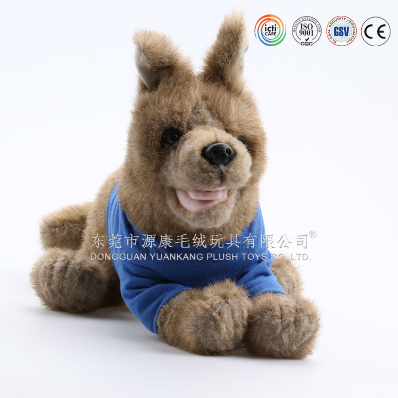 Animal sound cartoon brown musical plush dog toy with green material